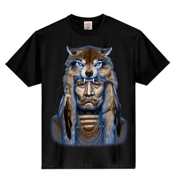 T-Shirt Native Indian Wolf