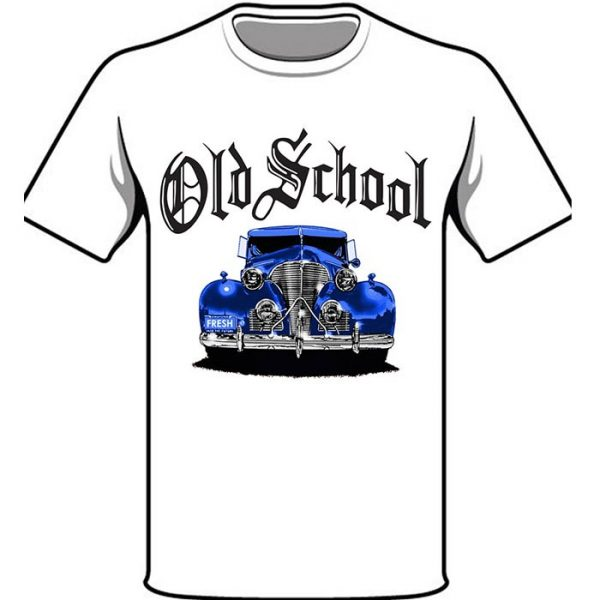 T-Shirt Old School Blue Car white shirt