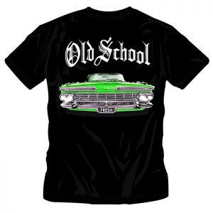 T-Shirt Old School Green Car black shirt