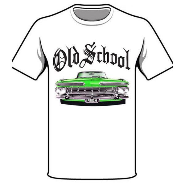 T-Shirt Old School Green Car white shirt