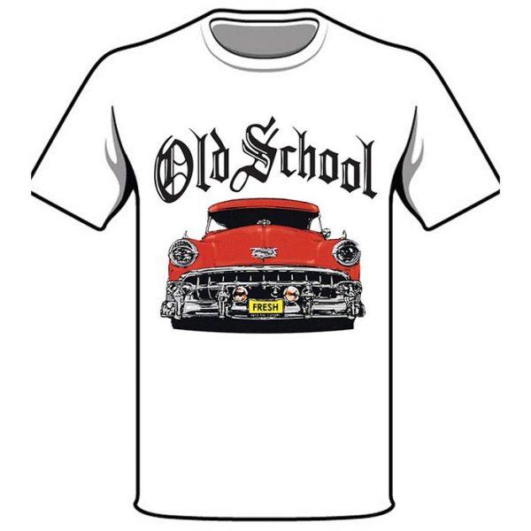 T-Shirt Old School Red Car white shirt