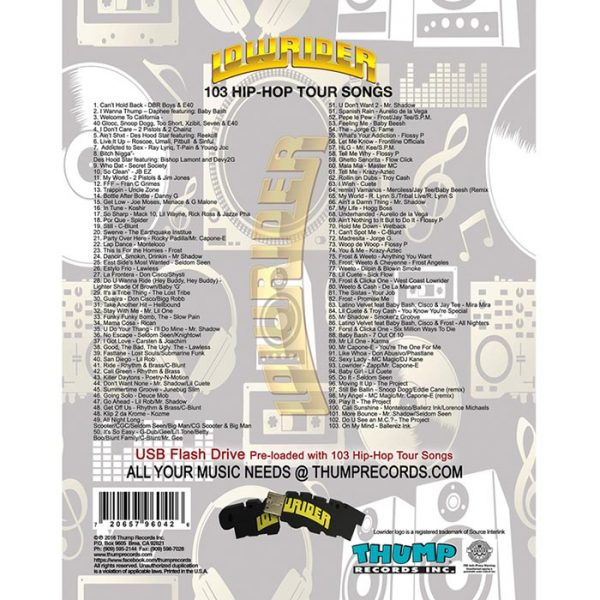 Thump Records Lowrider Hip-Hop MP3 collection track listing.